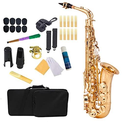 BOTOWI Professionelles Es-Alt Saxophon, Altsaxophon Goldlack-Finish, Saxophon Blasinstrument mit Muschel Klappen, Premium Sax Komplettset Vergoldetem Messing für Anfänger, Studenten, Profi