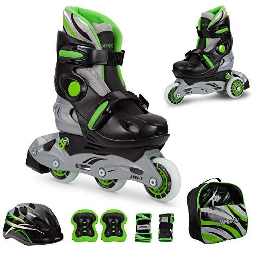 JAMBACH Kinder Inliner Inline Skates für Anfänger verstellbar Set Triskates mit Schutzset Helm Rucksack Rollschuhe Mädchen Jungen (XS (26-29), grün)