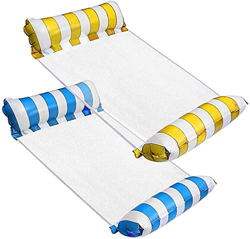 kunst für alle Aufblasbares Schwimmbett Schwimmende Reihe Wasservergnügen Lounge Chair Wasser Aufblasbares Schwimmbett Sofa Wasserbett Lounge Chairs Klappbare Rückenlehne (hellblau+Yellow)