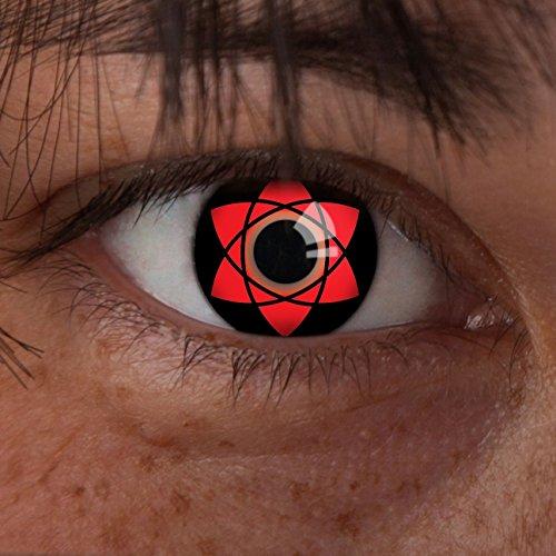 aricona Kontaktlinsen - Sharingan Kontaktlinsen Uchiha Sasuke - Farbige Kontaktlinsen ohne Stärke für Cosplay, Karneval, Fasching, Motto-Partys und Halloween Kostüme, 2 Stück