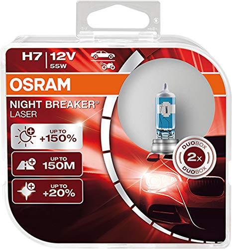 Osram Night Breaker Laser H7 next Generation, +150% mehr Helligkeit, Halogen-Scheinwerferlampe, 64210NL-HCB, 12V PKW, Duo Box (2 Lampen)