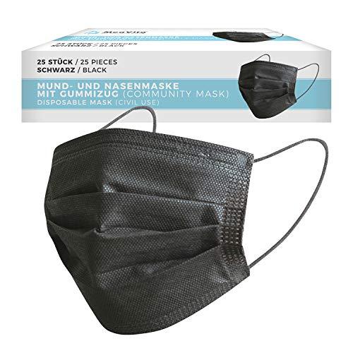 MeaVita Mund- und Nasenmaske, 25er Pack, Einweg Maske, schwarz, 3-lagig Gummizug