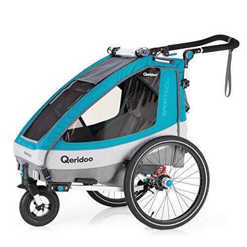 Qeridoo Sportrex 1 (2020/2021) Fahrradanhänger Kinder, 1 Sitzer, Federung - Petrol