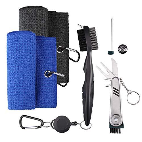 ZOCIPRO 4Stück Golf Zubehör Golf Accessories, Einschließlich Golftuch, Golfbürste, Multifunktionaler Golfmesser-Ballmarker, Geeignet zum Reinigen von Golfausrüstung