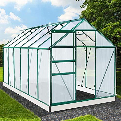 BRAST Gewächshaus Aluminium mit Fundament rostfrei 380x190x195cm Grün 6mm Platten 37 Modelle Alu Treibhaus Glashaus Tomatenhaus