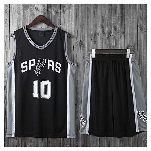 QPY Derozen # 10 Spurs Basketball Trikots für Herren, Ärmelloses Rundhals-Sweatshirt, Kleines Netz Schnelltrocknende atmungsaktive Sportweste (L-5XL)-Black-2XL