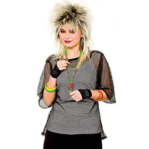 Adults 80's Rave Disco Hen Party Neon Mesh Top Fancy Dress Accessory-Black