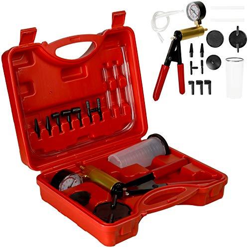 CCLIFE Bremsenentlüftungsgerät Vakuumpumpe Hand Bremsenentlüfter Vakuum Pumpe Vakuumtester Auto | 0-30inHg / 0-760mmHg