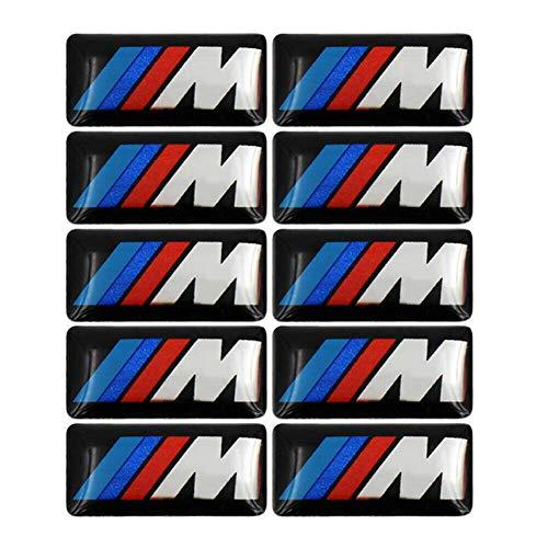 10 Stück Embleme PlaketteAufkleber Abzeichen Reifen Farbe hintere Kotflügel Seiten Embleme für BMW - 3D Aufkleber Typenschild Auto Aufkleber Logo Aufkleber Fit für alle BMW M Kleber Aufkleber (17X9MM)