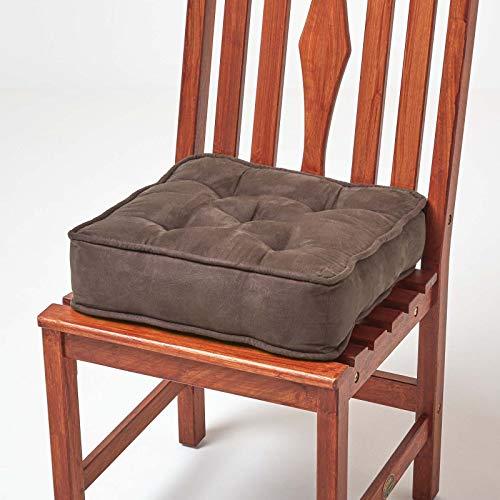 Homescapes gepolstertes Stuhlkissen 40 x 40 cm, Stuhlpolster mit Befestigungsbändern und Veloursbezug, 10 cm hohes Matratzenkissen für Stühle, braun