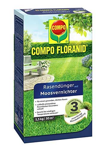COMPO FLORANID Rasendünger mit Moosvernichter, 3 Monate Langzeitwirkung, Feingranulat, 1,5 kg, 50 m²