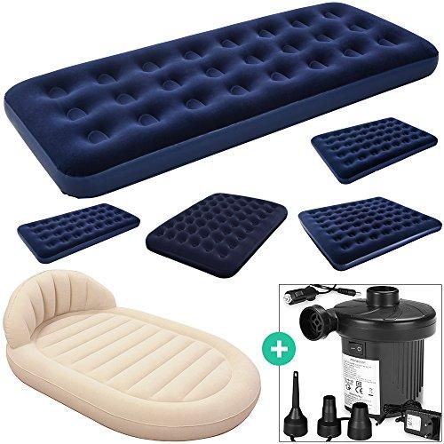 Deuba Luftbett Set mit elektrischer Luftpumpe Luftmatratze | Maße: 203 x 152 x 22cm | Luftpumpe mit 3 verschiedenen Adaptern