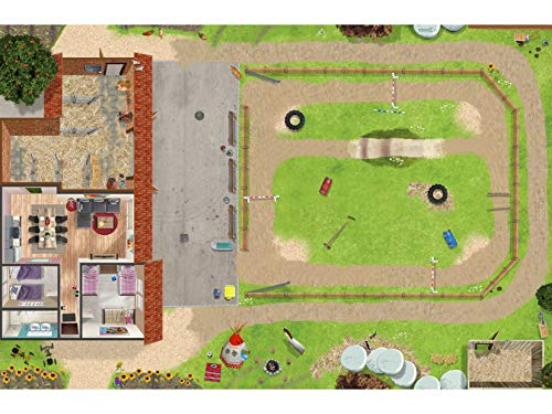 Ponyhof Spielmatte (ähnlich Spielteppich) | Hochwertige Spiel-Matte für das Kinder-Zimmer | ideales Zubehör zu Spiel-Figuren von Schleich, Playmobil, Papo, Bullyland & Co | 150 x 100 cm | SM19