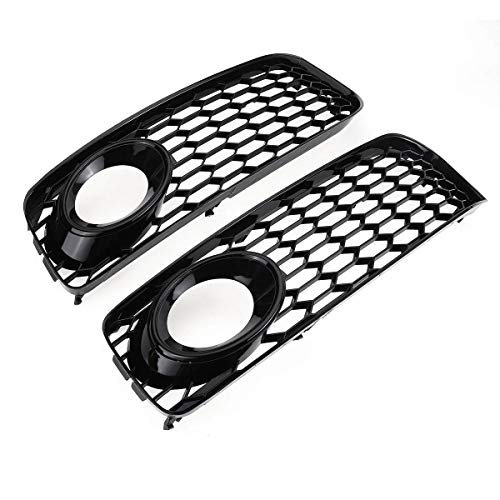 2X Black Auto Nebelscheinwerfer Lampe Grillbezug Wabe HEX Sex Front Grille Grill for Audi A5 S-Line / S5 B8 RS5 2008 2009 2010 2011 2012 Auto Zubehör