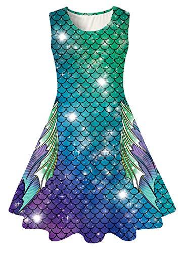 Adicreat Mädchenkleid, ärmellos, Rundhalsausschnitt, niedlich, lässig, bedruckt, Partykleid, Sommerkleid Gr. 8-9 Jahre ( Large ), Meerjungfrau Neu 9
