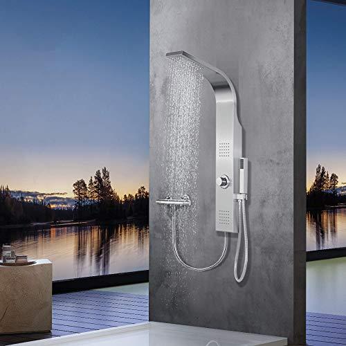 Elbe®Duschpaneel ohne Armatur mit 3 Duschfunktionen, aus gebürstetes Edelstahl 304, mit 2 x Massagedüsen, wellness-Dusche