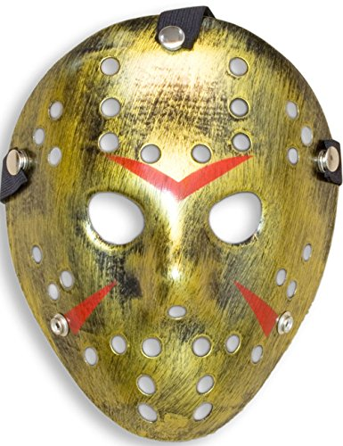 HomeTools.eu® - Halloween Maske, Kostüm Horror Hockey Myers Gesichts-Maske, Fasching, Karneval, Grusel-Kostüm Hockey-Maske Fratze, Shabby Gold