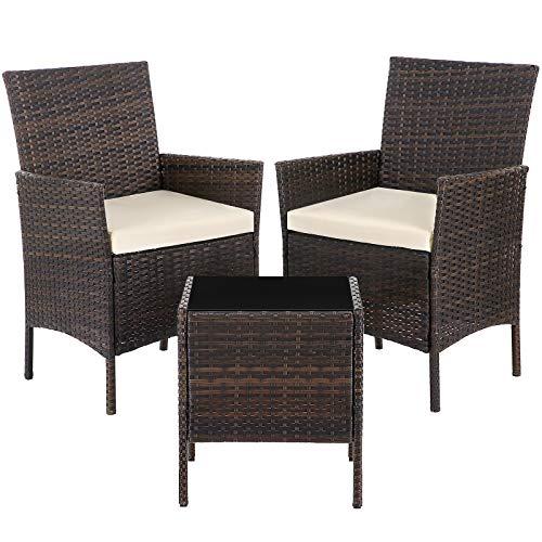 SONGMICS Gartenmöbel-Set aus Polyrattan, Lounge-Set, in Rattanoptik, Terrassenmöbel, Balkonmöbel, für Terrasse, Garten, Balkon, braun-beige GGF001K02
