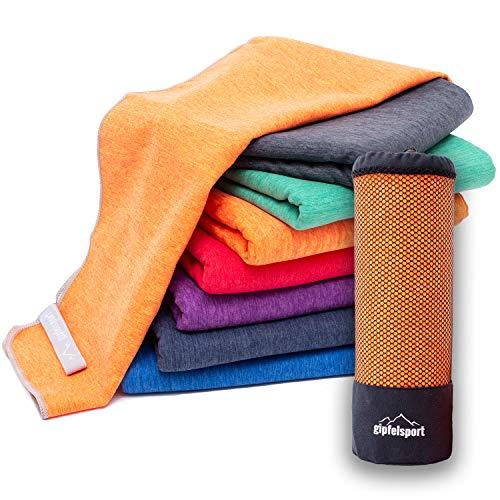 Mikrofaser Handtuch Set 'Brush' - Microfaser Handtücher mit Tasche für Sauna, Fitness, Sport I Set1 1x S(80x40cm) & 1x L(140x70cm)   Orange