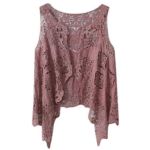 Xshuai RTE Bluse Damenmode Sommer Open Stitch Strickjacke Häkelweste Top