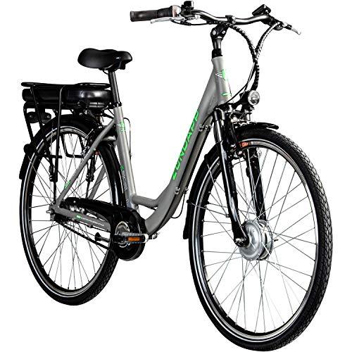 Zündapp E-Bike 700c Damenrad Pedelec 28 Zoll Z502 E Citybike Hollandrad Fahrrad (grau/grün ohne Korb)