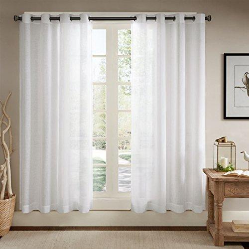 Ösenschal Voile Vorhang in Leinen-Optik Leinenstruktur Ösenvorhang Gardine mit Ösen Solid Sheer Wohnzimmer Elegant, Off White (2er-Set, je 229x147cm)