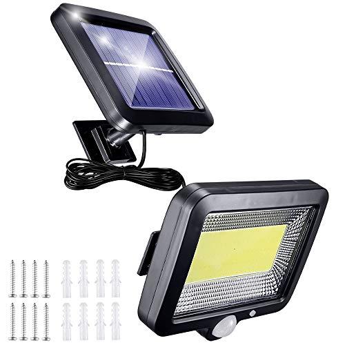 Solarlampen für AußEn mit Bewegungsmelder, 56 Led Solarleuchten für Carport mit 5m Kabel, 3 Modi 120° Superhelle Solar Lampe Outdoor IP65 Wasserdichte Led Aussenleuchte Led Solar Strahler
