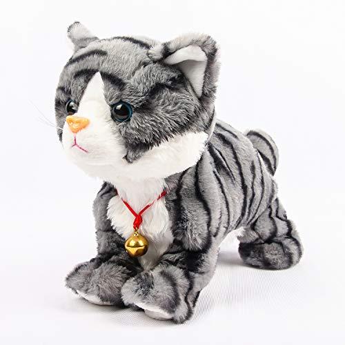 Smalody Elektronisches Plüschtier, Robot Cat Interaktives Spielzeug Elektronische Haustiere für Kinder Geschenkparty (grau)