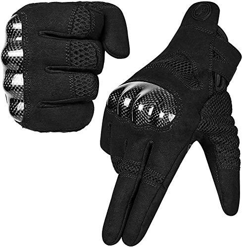 MOREOK Motorradhandschuhe, Touchscreen Motorrad Handschuhe Mit 100% Carbon Harter Knöchelschutz Sport Handschuhe für Herren und Damen-M