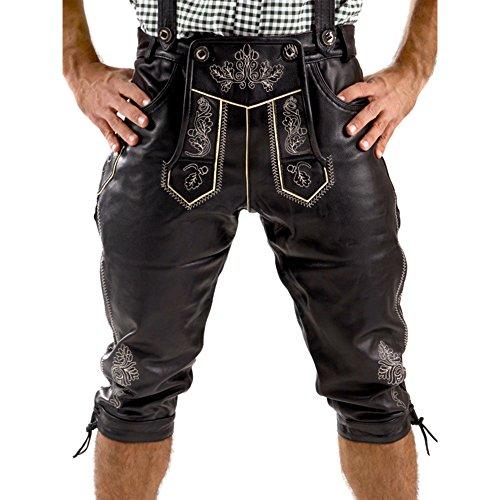 Almbock Lederhose Kniebund schwarz - Herren Lederhose Tracht mit fescher Stickerei - Trachtenlederhose Nappa - Herren Lederhosen - Trachtenhose 56