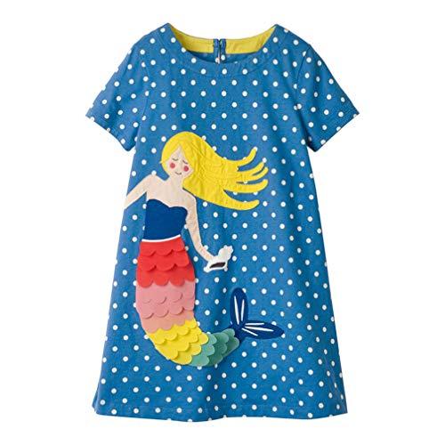 Mädchen Baumwolle Kurze Ärmel Kleid Lässiger süßer Drucken T-Shirt Kleid 1-7 Jahre (5-6 Jahre, Meerjungfrau)
