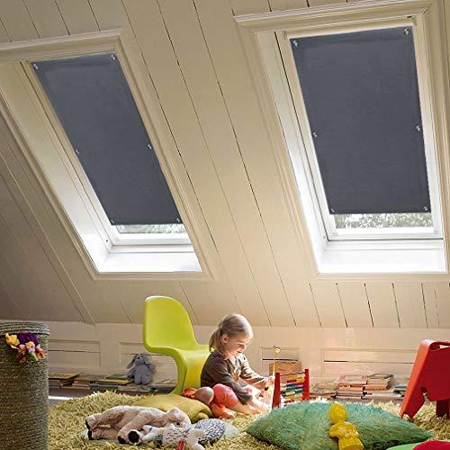 KINLO Dachfenster Sonnenschutz Dunkelgrau Thermo Dachfensterrollo Verdunkelungsrollo für Velux Dachfenster UV Schutz mit Saugnäpfe ohne Bohren ohne kleben | Ausgewählte Größe: Y45 Und 045-57 x 100cm