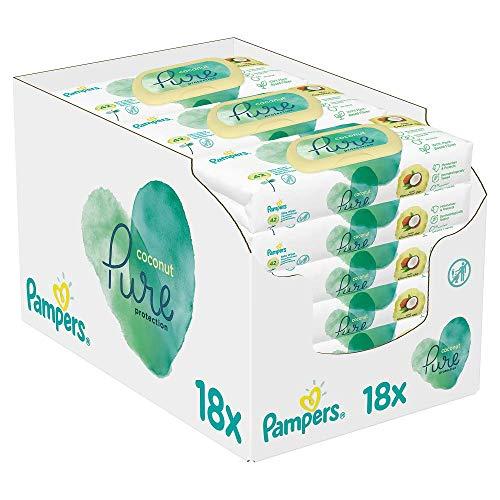 Pampers Baby Feuchttücher Coconut, Mit Kokosnussöl Zur Reinigung Und Feuchtigkeitspflege, 756 Tücher (18 x 42)