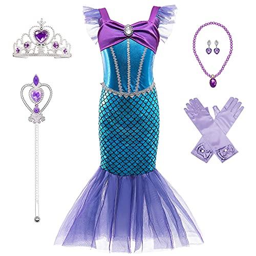 BanKids Meerjungfrau Kostüm Kinder Mädchen Dress Up Arielle Kostüme Prinzessin Kleid Ausgefallene Meerjungfrau Kleid 6-7 Jahre (140,K52)