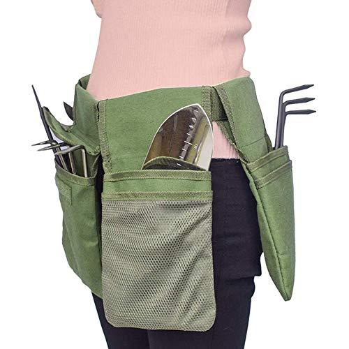YGYQZ Gartengerätegürtel - Tragbar Gartenwerkzeug Tasche | Canvas Gartenwerkzeug Aufbewahrung Tasche mit 4 Separaten Taschen| Werkzeugtasche Gürtel Klein, Armeegrün