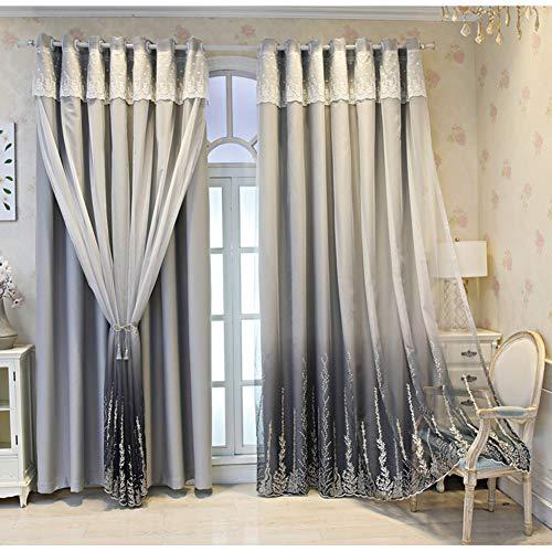 2 Schichten Verdunkelungsvorhänge,mit Voile Vorhänge,Double-Deck Spitze Stickerei,ösen Blickdicht Doppelschicht Vorhang für Mädchen Schlafzimmer Wohnzimmer Kinderzimmer Wärmeisolierter Gardinen,1pcs