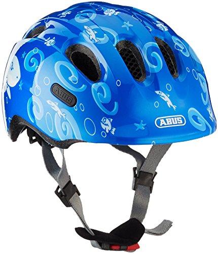ABUS Smiley 2.0 Kinderhelm - Robuster Fahrradhelm für Mädchen und Jungs - 72575 - Blau mit Hai-Muster, Größe M