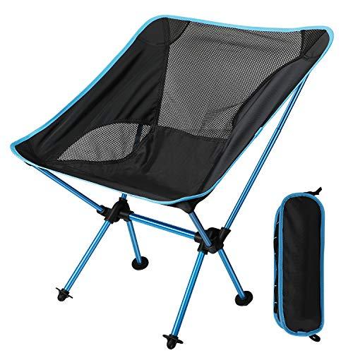 EXTSUD Ultraleichter Campingstuhl Anglerstuhl Klappstuhl kompakter tragbar Stuhl mit Tragetasche für Outdoor Aktivitäten,Camping,Grill,Picknick,Strand,Wandern max Belastung beträgt 150kg MEHRWEG