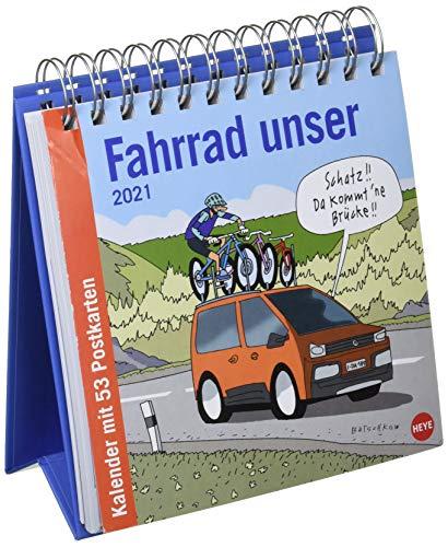 Butschkow: Fahrrad unser Premium-Postkartenkalender 2021 - Wochenkalender zum Aufstellen mit 53 perforierten Postkarten - mit Spiralbindung - Format 16,5 x 17,7 cm
