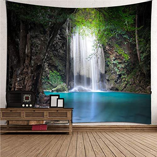 Daesar Wandteppich Nordisch Wasserfall und See im Wald, Wandbehang Outdoor 200x200CM Tapisserie Vorhang Wanddeko für Kinderzimmer Wohnzimmer Schlafzimmer als Yogamatte Picknickdecke Strandtücher