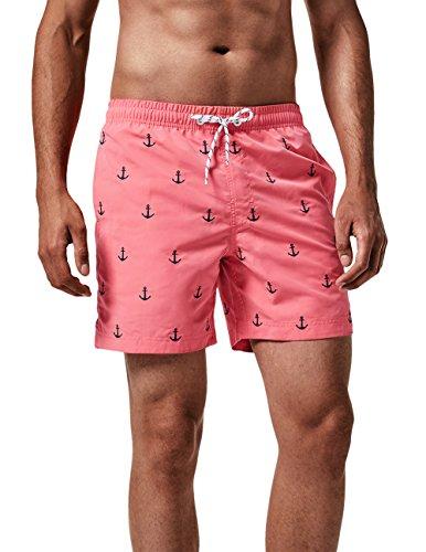 MaaMgic Badehose für Herren Jungen Badeshorts für Männer Schnelltrocknend Surfen Strandhose Surf Shorts mit Mash-Innenfutter MEHRWEG, Anker Pink, L