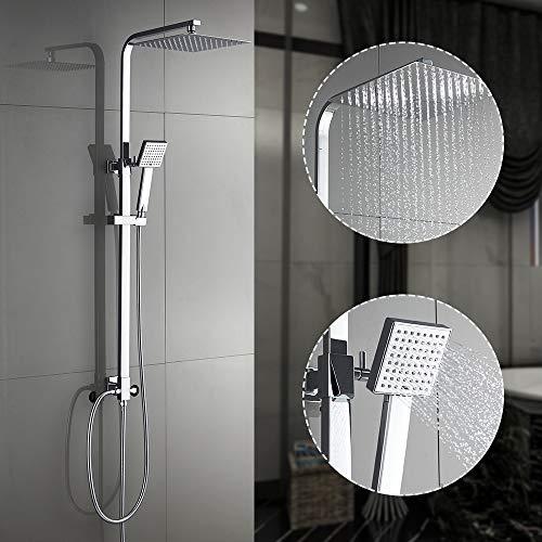 Auralum Duscharmatur mit 25 CM Regendusche ohne thermostat, duschsystem ohne armatur edelstahl duschstange mit brause Höhenverstellbare