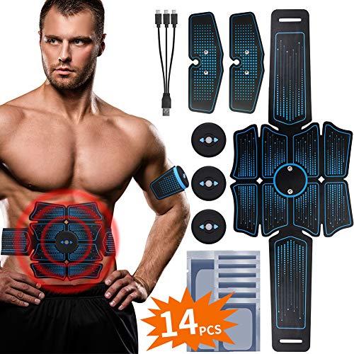 RIRGI EMS Trainingsgerät Bauchmuskeltrainer Upgraded USB Wiederaufladbar Muskelstimulation für Bauch Beine Arme ABS Muskelaufbau, Muskelstimulator mit 6 Modi 9 Intensitäten [Gratis 14 STK. Gelpads]