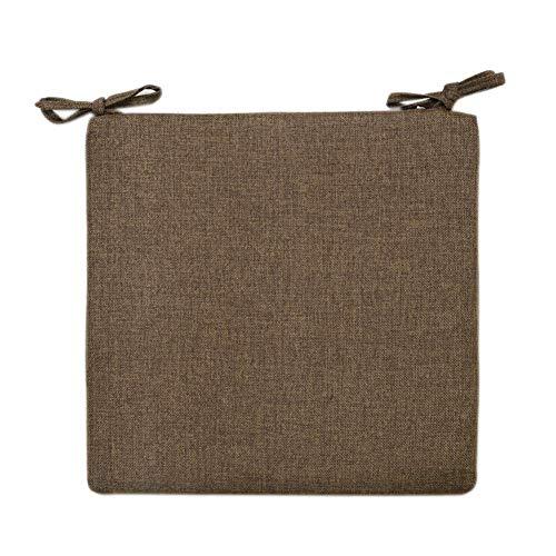LIYANJIN Sitzpolsterung aus Baumwolle und Leinen, Rutschfester Memory Foam-Küchenstuhl Esszimmerstuhlpolster Quadratisches 2er-Pack Reißverschlusskissen mit Krawatten-Mokka 40x40cm (16x16inch)