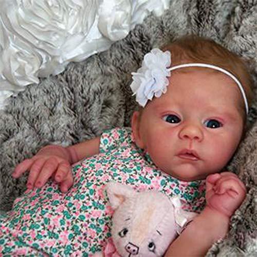 WNBXZ Babypuppe Wie Echtes Baby Reborn Puppe Mädchen 18inch 46cm Alles Silikonmaterial Babypuppen Puppe Mit Offenen Augen Handgemacht Junge Mädchen Spielzeug Weihnachts Geschenk
