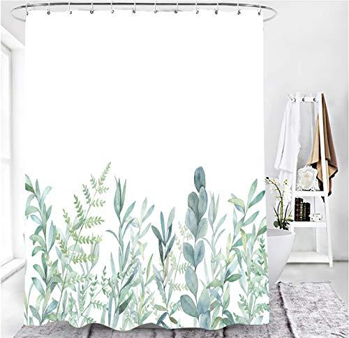 M&W DAS DESIGN Duschvorhang grüne Blätter Blumen Pflanzen Badezimmer Textil Vorhang mit Antischimmel Effekt waschbar Shower Curtain badewanne inkl. 12 C-Ringe Gewicht unten 180x200(BxH) cm