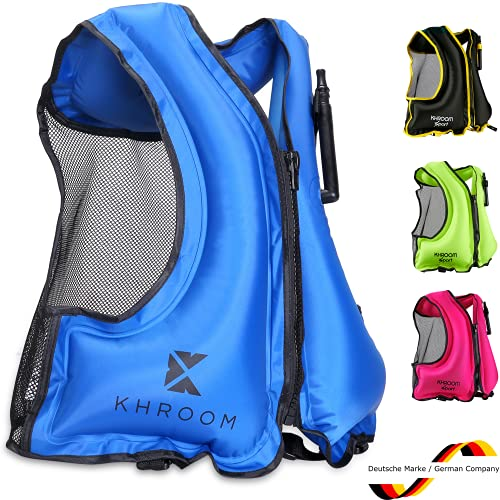 Khroom® aufblasbare Schwimmweste - wiegt nur 400 Gr. - Schwimmhilfe zum Schnorcheln, Kajak und SUP - für Erwachsene (Blau)