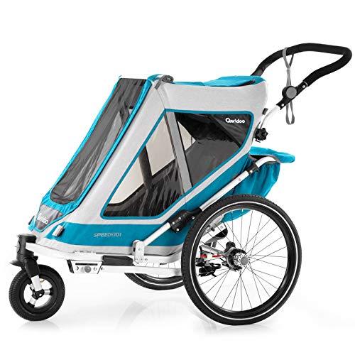 Qeridoo Speedkid 1 (2020/2021) Fahrradanhänger für 1 Kind, Kinderfahrradanhänger - Petrol