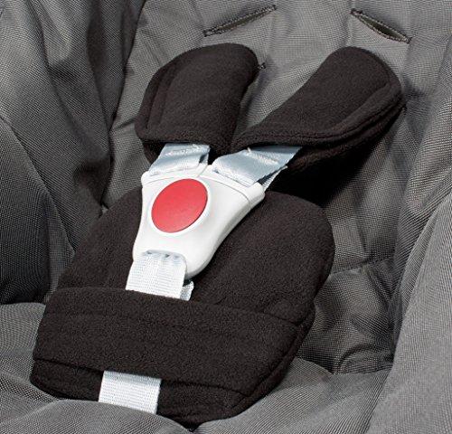 ByBoom® - Gurtpolster Set - universal für Babyschale, Buggy, Kinderwagen, Autositz (z.B. Maxi Cosi City SPS, Cabrio, Cybex Aton usw.); In vielen Farben; MADE IN EU, Farbe:Schwarz