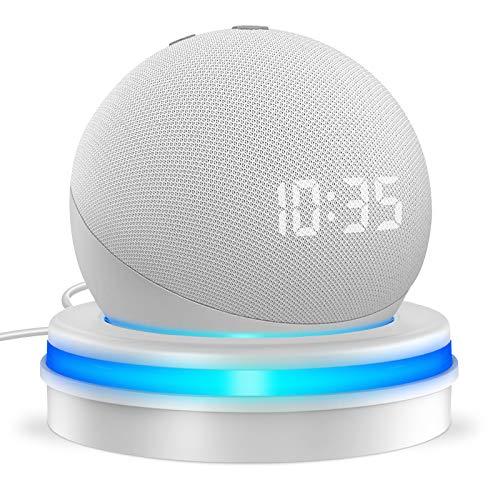 Cocoda Tischhalterung für den Dot 4. Generation | Smarter Ständer Halter mit eingebautem Kabelspeicher und Lichtringführung | Macht Ihr Dot Auffälliger | Weiss